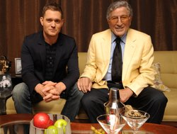 Michael Bublé sits with Tony Bennett.