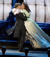 """Hadley Fraser as Raoul and Sierra Boggess as Christine in """"Phantom Of The Opera At Royal Albert Hall."""""""