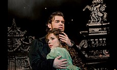 "Hadley Fraser as Raoul and Sierra Boggess as Christine in ""Phantom Of The Opera At Royal Albert Hall."""