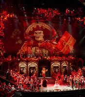 """Performance photo of the stage and cast of """"Phantom Of The Opera At Royal Albert Hall."""""""