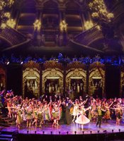 "Performance photo of the stage and cast from ""Phantom Of The Opera,"" staged in the sumptuous Victorian splendor of London's Royal Albert Hall."