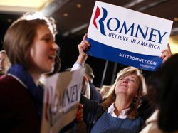 Romney supporters celebrate in Boston on Super Tuesday. Exit polls from Super...