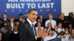 President Barack Obama speaks to students at Northern Virginia Community Coll...