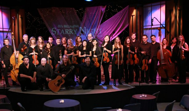 Group shot of Billy McLaughlin and Jung-Ho Pak with Orchestra Nova in the KPBS studio.