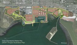 A satellite map of a proposed redevelopment project on the Chula Vista bayfront.