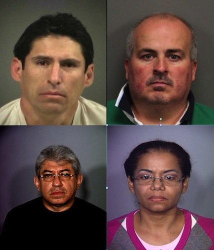 These four individuals have all been arrested by Nevada police agencies in the last 12 months on charges relating to practicing medicine without a license. Clockwise: Juan Alberto Ruan-Rivera, Edgar Orozco-Abundis, Carmen Olfidia Torres-Sanchez and Ruben Dario Matallana-Galvas.