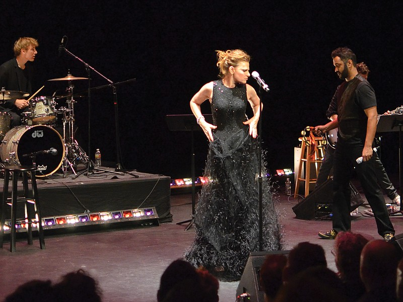 Sandra Bernhard performing in her one-woman show,