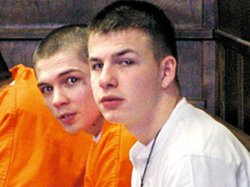 Evan Miller (in the white shirt) was sentenced to life in prison for a crime ...