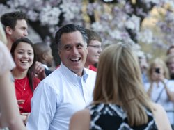 Mitt Romney talks with students March 19, 2012 at Bradley University in Peori...