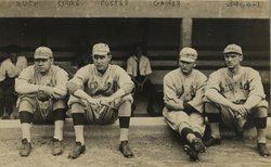 Red Sox teammates Babe Ruth, Ernie Shore, Rube Foster and Del Gainer take a breather (1915-1917).