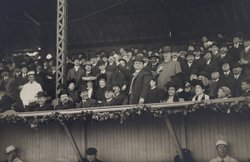 "Mayor John ""Honey Fitz"" Fitzgerald, grandfather of John F. Kennedy, throwing out ball on April 20, 1912, for Fenway's first professional/official game against the New York Highlanders, later known as the Yankees."