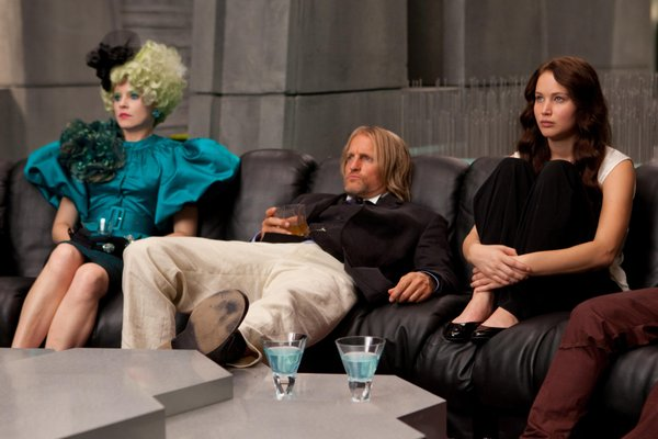 "Elizabeth Banks, Woody Harrelson, and Jennifer Lawrence in ""The Hunger Games."""