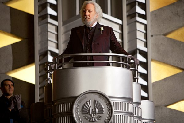 "Donald Sutherland represents governmental authority in the film adaptation of ""The Hunger Games."""