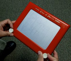 Rick Santorum beats up Mitt Romney with an Etch A Sketch, figuratively speaking.