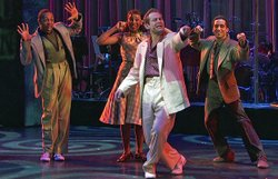 "Performance photo of the cast of ""Memphis."""