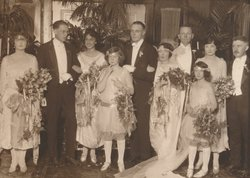 """Red"" Upshaw (pictured fifth from left) and Margaret Mitchell's (pictured sixth from left) wedding photo, September 2, 1922. Upshaw is believed to be the model for the Rhett Butler character in ""Gone With the Wind."" Best man John Marsh (pictured second from left) would become Mitchell's second husband, July 4, 1925, and her editor when writing ""Gone With the Wind."" Also pictured, Mitchell's older brother Stephens (far right)."