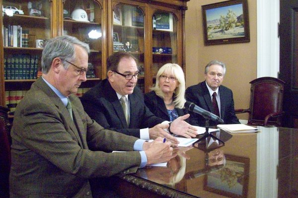 Republican state lawmakers unveil their budget proposal. From left: Senate Budget Committee Vice-Chair Bill Emmerson, Senate GOP Leader Bob Huff, Assembly GOP Leader Connie Conway, Assembly Budget Committee Vice-Chair Jim Nielsen.