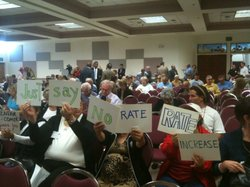 More than 400 people attended a public hearing on April 5, 2012 to tell regulators what they think about San Diego Gas & Electric's plan to bill ratepayers for the 2007 fires.