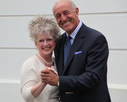 Len Goodman with Yvonne Hume in Grand Hotel Eastbourne. Yvonne Hume is the great niece of Titanic's first violinist John Law Hume.
