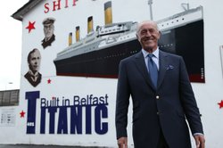 Len Goodman in front of Ship of Dreams mural in Belfast, Northern Ireland.
