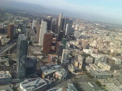 A helicopter view of Downtown Los Angeles.