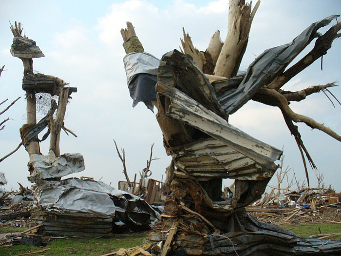 Debris wrapped around tree in Joplin, Missouri, after the April 2011 tornado outbreak.