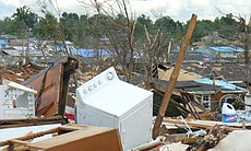 The path of destruction left by a tornado in Joplin, Missouri.