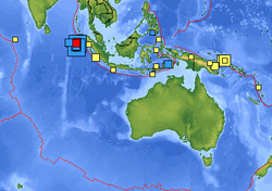 This U.S. Geological Survey map shows the size and location of the earthquakes. The epicenters are approximately 270 miles (435 kilometers) from Aceh's provincial capital.