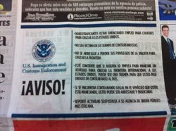 This is an ad from U.S. Immigration and Customs Enforcement in the Tijuana ne...