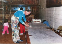 Muralist Salvador Torres in 1988. His early attempts to save the rathskeller art involved making tracings of many of the pieces. Courtesy of Rachael Ortiz.