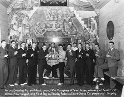 A 1936 championship-winning softball team gathers in the Aztec Brewing Co. ra...