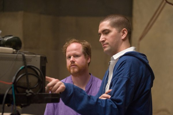 "Joss Whedon and Drew Goddard on the set of ""The Cabin in the Woods."""