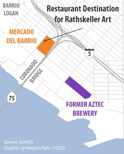 Map of Mercado del Barrio and former Aztec Brewery Co. in Barrio Logan.