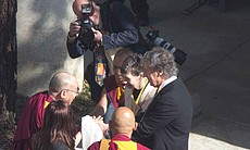 The Dalai Lama Tibetan spiritual leader arrives to San Diego to give two talk...