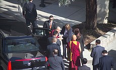 The Dalai Lama arrives to UC San Diego for the start of a five-day tour of So...
