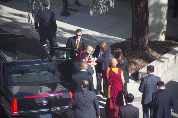The Dalai Lama arrives to UC San Diego for the start of a five-day tour of Southern California, April 18, 2012.