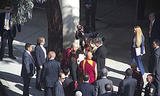 The Dalai Lama arrives to UCSD for a five day t...