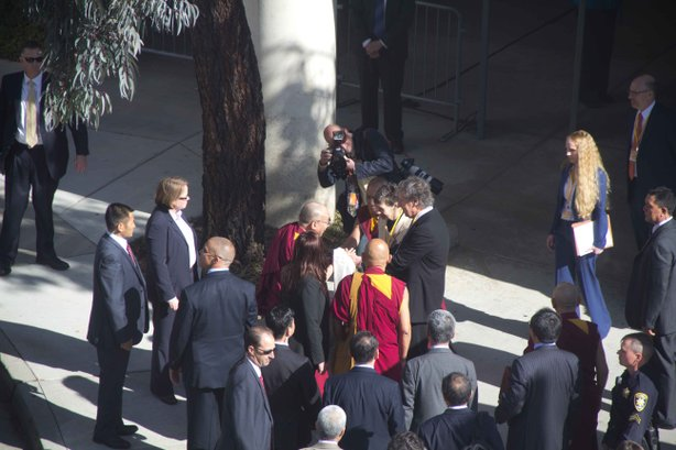 The Dalai Lama arrives to UCSD for a five day tour of San Diego, on April 18, 2012.