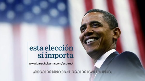"President Obama's re-election campaign has released four new Spanish-language ads, each ending with the phrase: ""Esta eleccion si importa,"" which in English means, ""This election does matter."""