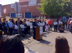 Assemblyman Ben Hueso speaks at a rally outside the Sherman Height Farmer's M...