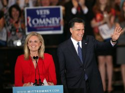 Republican presidential candidate Mitt Romney and his wife Ann Romney greet s...