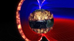 Graphic of the 1859 solar storm. The Earth's invisible magnetic field which c...