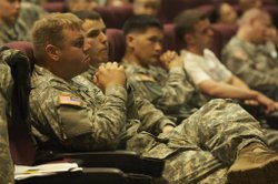 Soldiers learning about the GI Bill