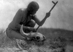 Black and white photo of Plains Indian with bison skull and prayer pipe.
