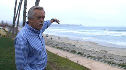 Russ Vetter points to the marine reserve off the coast of La Jolla