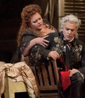 "Stephanie Blythe as Eduige and Joseph Kaiser as Grimoaldo in Handel's ""Rodelinda."""