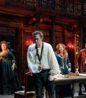 "A scene from Handel's ""Rodelinda"" features Stephanie Blythe as Eduige, Joseph Kaiser as Grimoaldo, Renée Fleming as the title character and Andreas Scholl as Bertarido."
