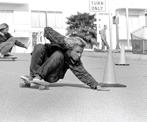 Z-Boy Jay Adams executes a Bert slide on Bicknell Hill, Santa Monica, Calif., 1975.
