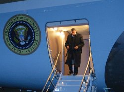 President Obama steps off Air Force One May 1 upon arrival at Bagram Air Fiel...