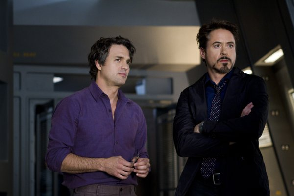 "Mark Ruffalo and Robert Downey, Jr. in ""The Avengers."""